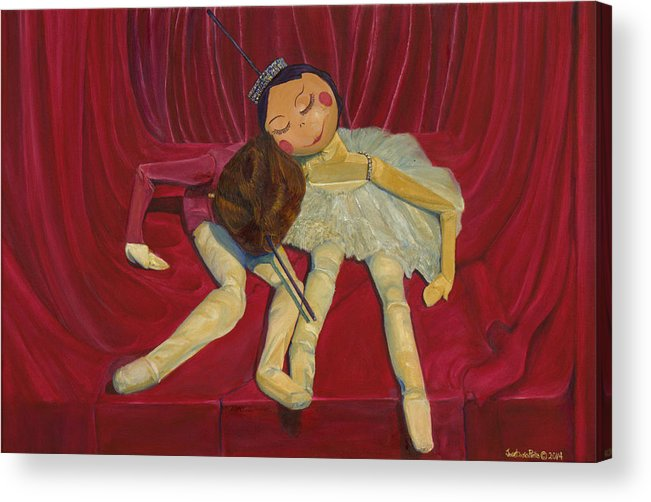Ballet Acrylic Print featuring the painting Ballerina And Partner by Dario Pinto