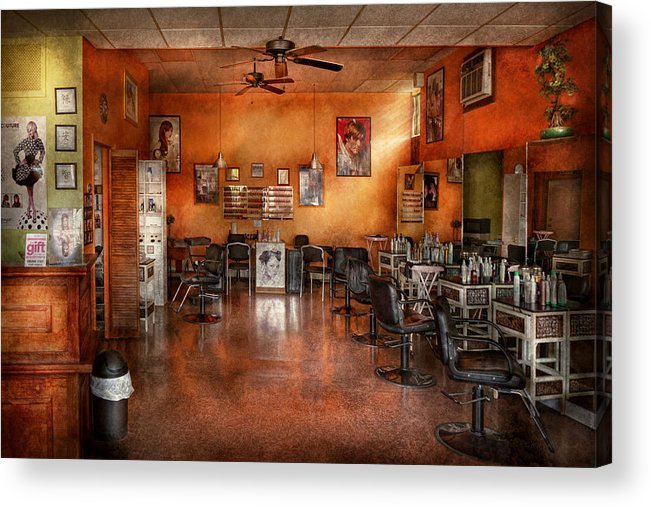 Barber Acrylic Print featuring the photograph Barber - Union Nj - The Modern Salon by Mike Savad
