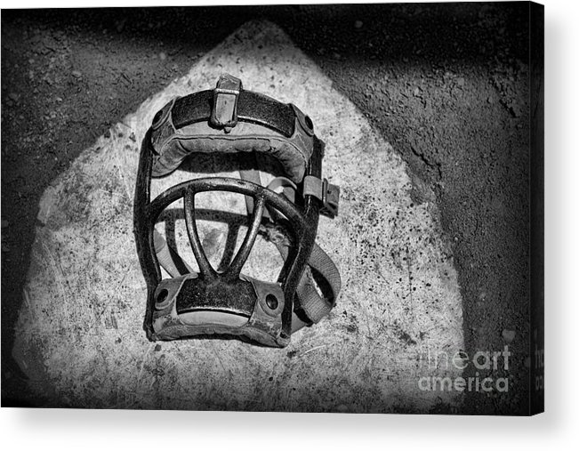 Paul Ward Acrylic Print featuring the photograph Baseball Catchers Mask Vintage In Black And White by Paul Ward