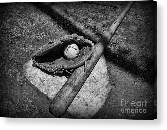 Paul Ward Acrylic Print featuring the photograph Baseball Home Plate In Black And White by Paul Ward
