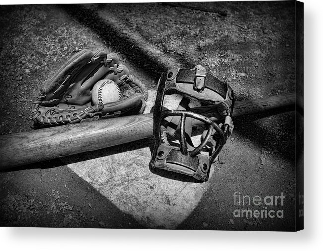 Paul Ward Acrylic Print featuring the photograph Baseball Play Ball In Black And White by Paul Ward