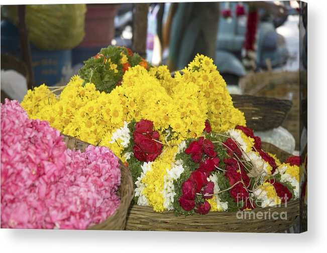 Flowers Acrylic Print featuring the photograph Basket Of Flowers by Mini Arora