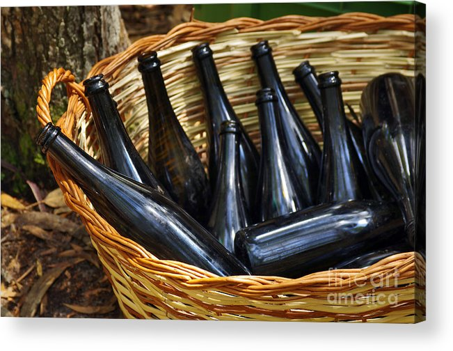 Alcohol Acrylic Print featuring the photograph Basket With Bottles by Carlos Caetano
