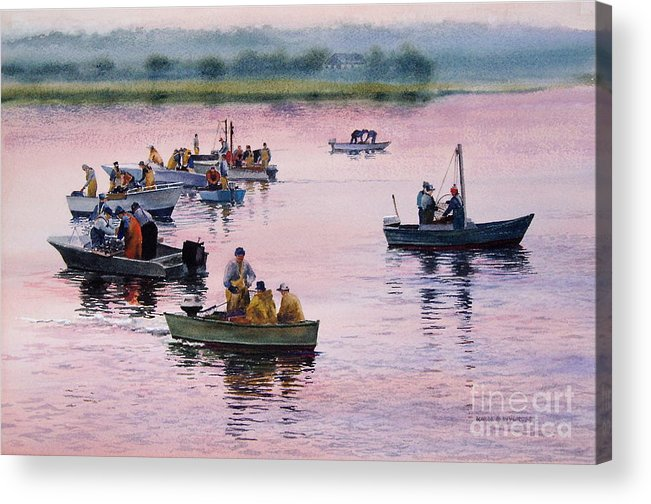 Boats Acrylic Print featuring the painting Bass River Scallopers by Karol Wyckoff