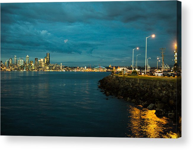 Night Acrylic Print featuring the photograph Bay And City At Night by Yuri Levchenko