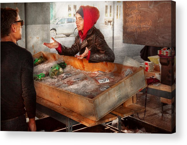 Amsterdam Market Acrylic Print featuring the photograph Bazaar - I Sell Fish by Mike Savad