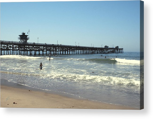Orange County Acrylic Print featuring the photograph Beach View With Pier 2 by Ben and Raisa Gertsberg