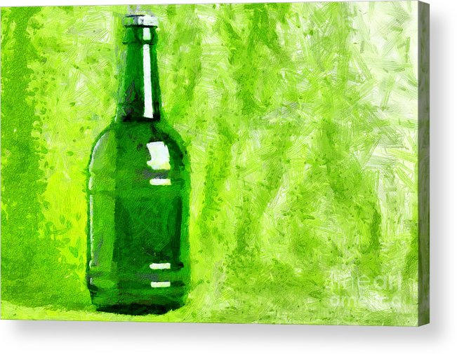 Soft Acrylic Print featuring the painting Beer Bottle Over Green Painting by Magomed Magomedagaev
