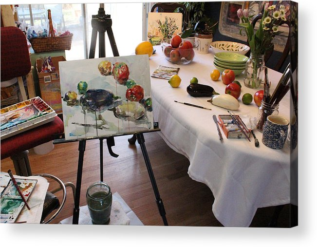Photograph Acrylic Print featuring the photograph Behind The Scene - Eggplants And Fruits by Becky Kim