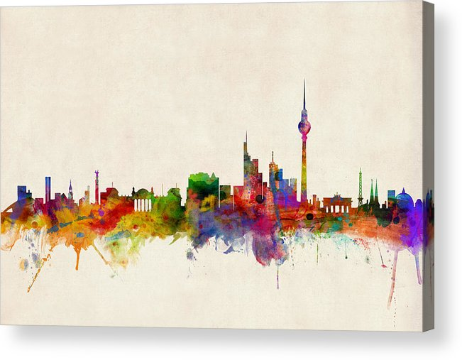 City Skyline Acrylic Print featuring the digital art Berlin City Skyline by Michael Tompsett