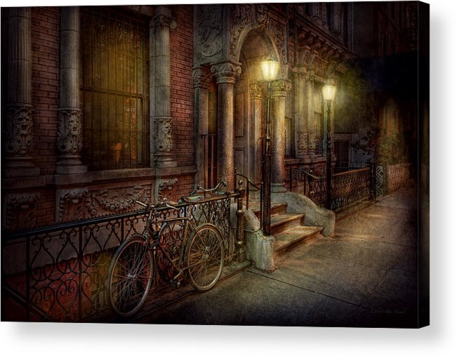 Savad Acrylic Print featuring the photograph Bike - Ny - Greenwich Village - In The Village by Mike Savad