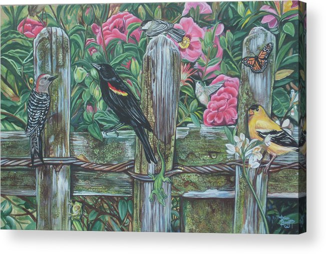 Birds Acrylic Print featuring the painting Birds On A Fence by Diann Baggett