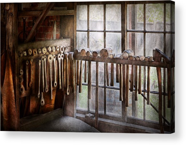 Blacksmith Acrylic Print featuring the photograph Black Smith - Draw Plates And Hammers by Mike Savad