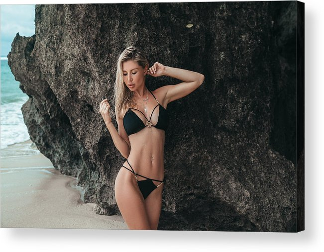Skin Acrylic Print featuring the photograph Blond Girl With Big Breasts In  A Black Swimsuit On