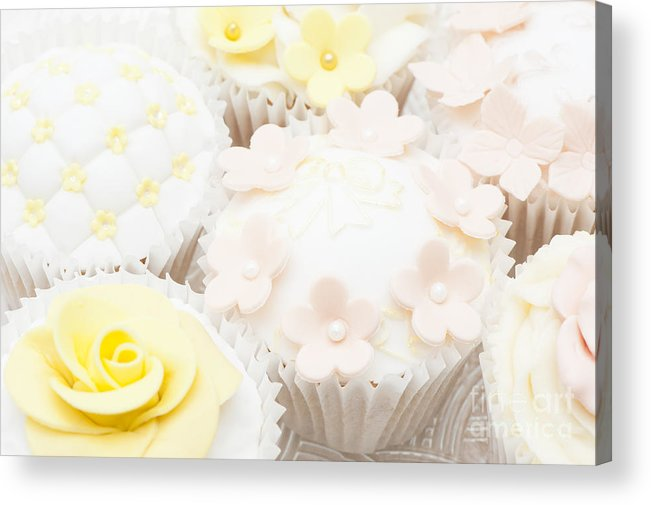Cupcake Acrylic Print featuring the photograph Blossoms And Bows Cupcake by Anne Gilbert