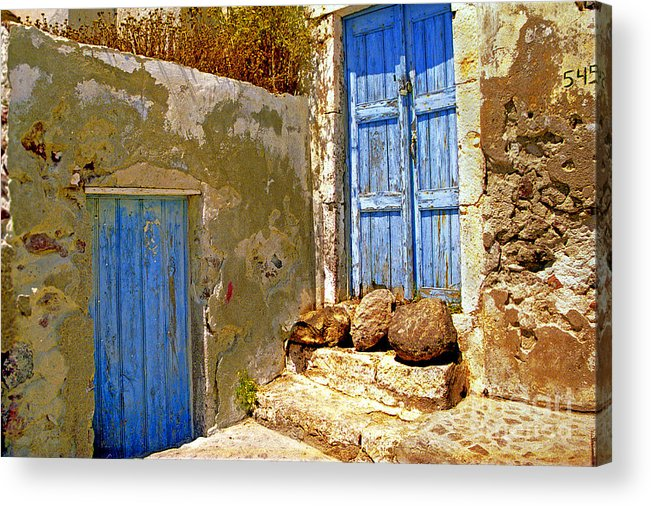Greece Acrylic Print featuring the photograph Blue Doors Of Santorini by Madeline Ellis