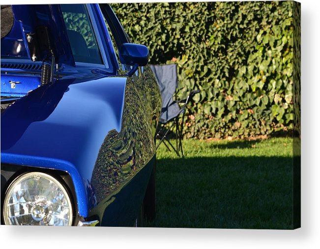 Acrylic Print featuring the photograph Blue Javelin Fender by Dean Ferreira