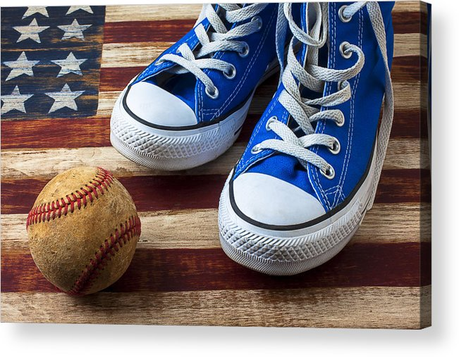 Blue Acrylic Print featuring the photograph Blue Tennis Shoes And Baseball by Garry Gay