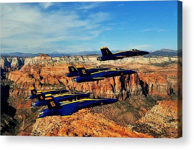 Blue Angels Acrylic Print featuring the photograph Blues Over Zion by Benjamin Yeager