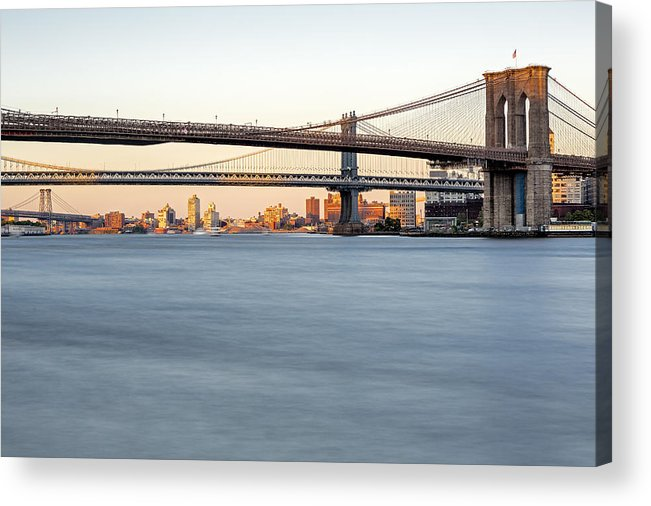 Big Apple Acrylic Print featuring the photograph Bmw New York City Bridges by Susan Candelario