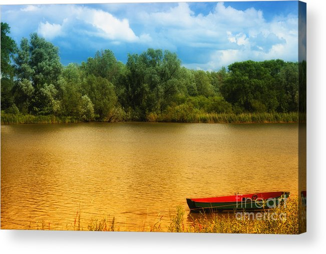 Red Acrylic Print featuring the photograph Boat On A Golden Pond by Nick Biemans