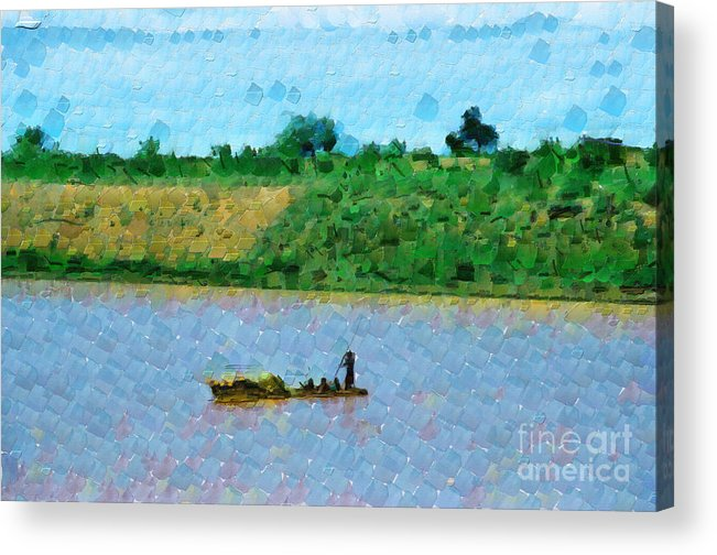 Ethiopia Acrylic Print featuring the painting Boat Painting by George Fedin and Magomed Magomedagaev