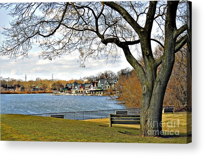 Boathouse Row Acrylic Print featuring the photograph Boathouse Row by Addie Hocynec