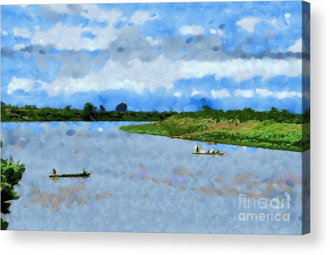 Ethiopia Acrylic Print featuring the painting Boats Painting by George Fedin and Magomed Magomedagaev