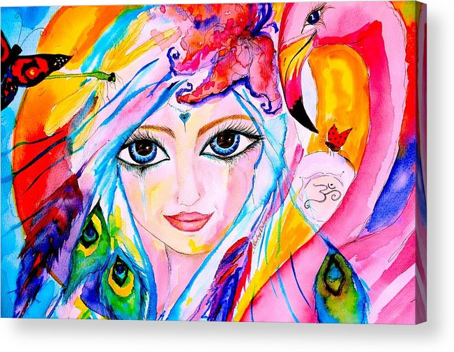 Angels Acrylic Print featuring the painting Bodhisattva by Marley Art