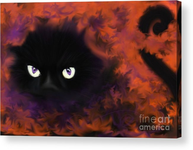 Black Cat Acrylic Print featuring the painting Boo by Roxy Riou