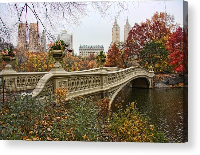 Central Acrylic Print featuring the photograph Bow Bridge In Central Park by June Marie Sobrito