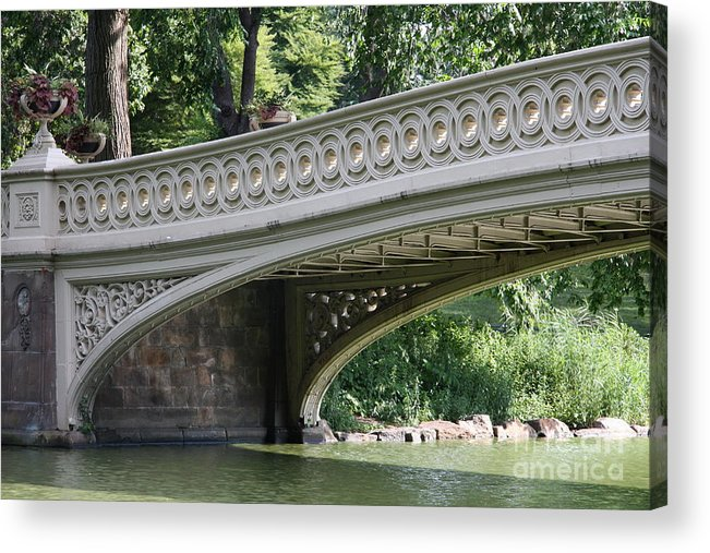 Bow Bridge Acrylic Print featuring the photograph Bow Bridge Texture - Nyc by Christiane Schulze Art And Photography