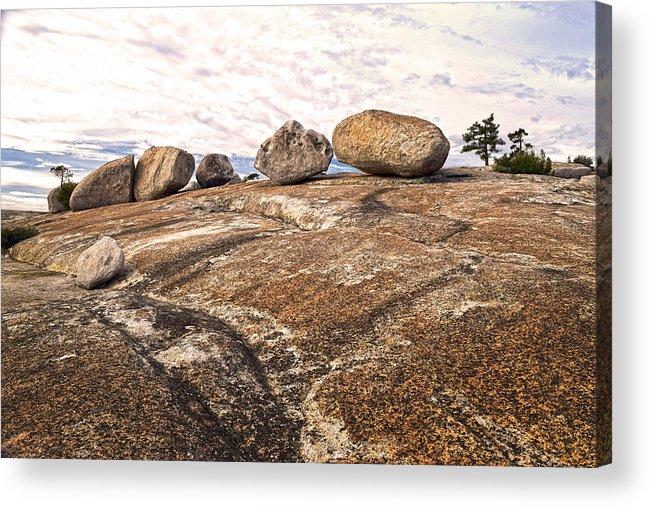 Bald Rock Dome Acrylic Print featuring the photograph Broken Glacial Erratics by Frank Wilson