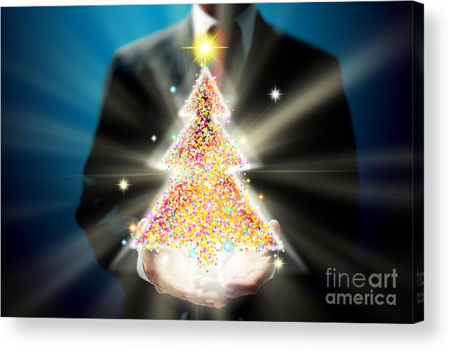 Business Acrylic Print featuring the mixed media Bussinessman With Christmas by Atiketta Sangasaeng