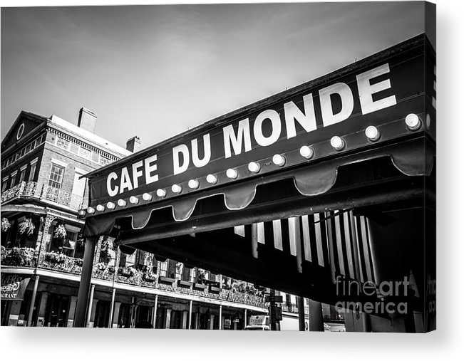 America Acrylic Print featuring the photograph Cafe Du Monde Black And White Picture by Paul Velgos