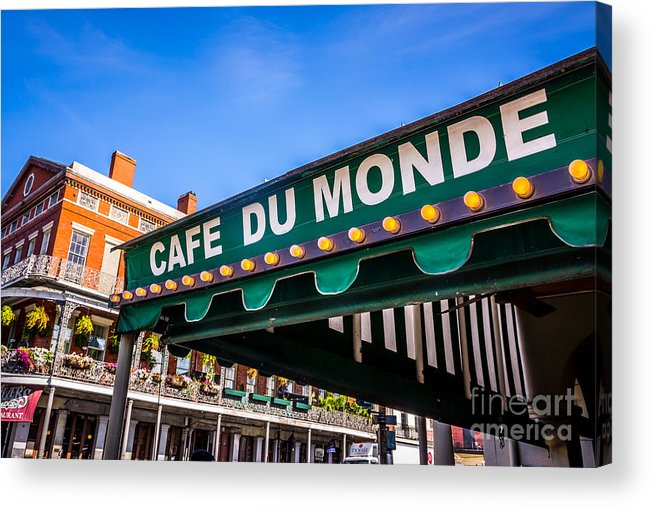 America Acrylic Print featuring the photograph Cafe Du Monde Picture In New Orleans Louisiana by Paul Velgos
