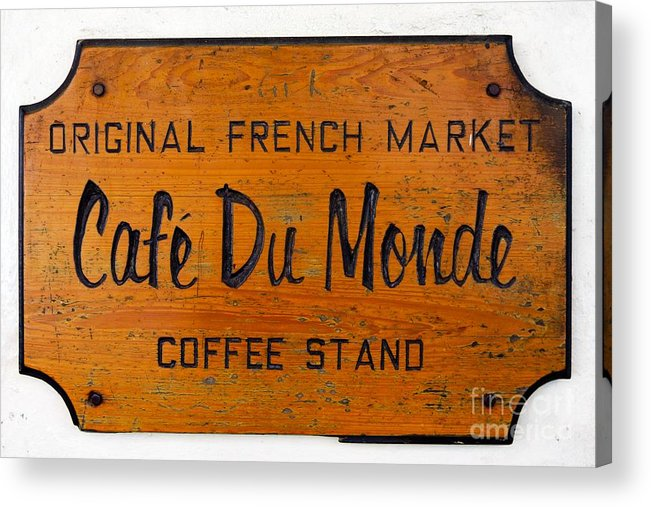 America Acrylic Print featuring the photograph Cafe Du Monde Sign In New Orleans Louisiana by Paul Velgos