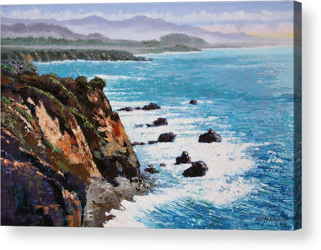 Ocean Acrylic Print featuring the painting California Coastline by John Lautermilch