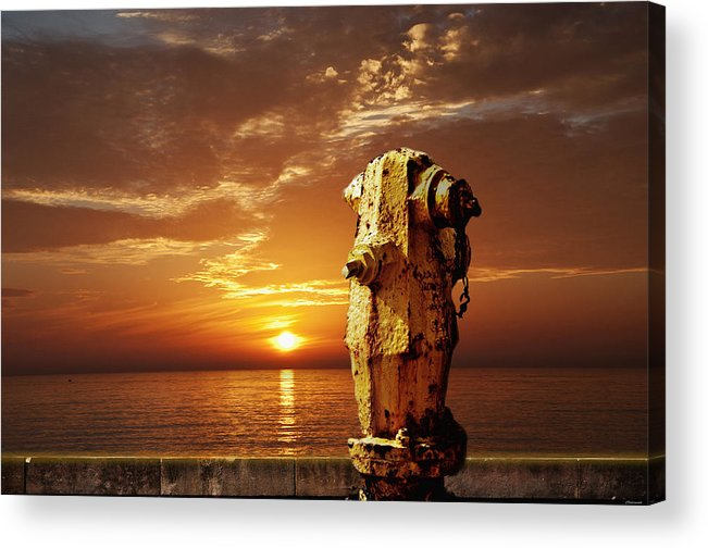 California Sunset Acrylic Print featuring the photograph California Sunset With Fire Hydrant by Larry Butterworth