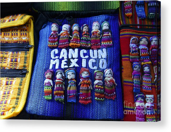 Mexico Acrylic Print featuring the photograph Cancun Souvenirs Mexico by John Mitchell