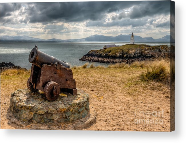 Anglesey Acrylic Print featuring the photograph Cannon At Llanddwyn by Adrian Evans