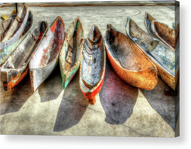 The Acrylic Print featuring the photograph Canoes by Debra and Dave Vanderlaan