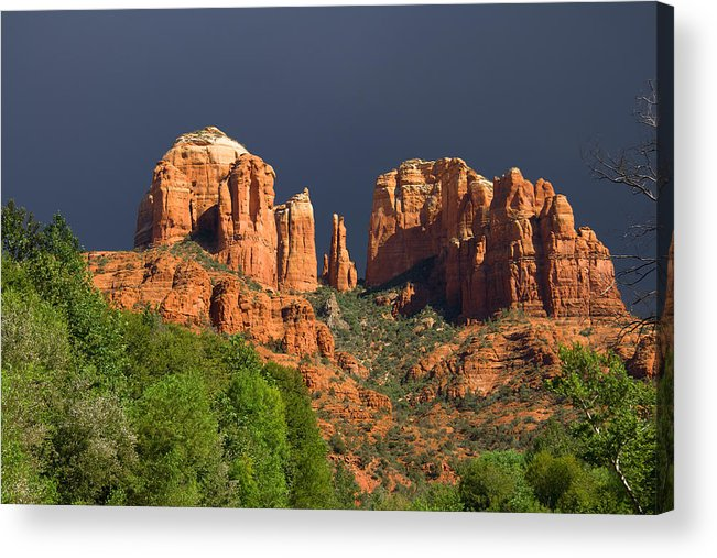 Red Rocks Acrylic Print featuring the photograph Cathedral Rock Before The Storm by Alexey Stiop