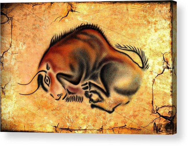Cave Painting Acrylic Print featuring the drawing Cave Painting by Alessandro Della Pietra