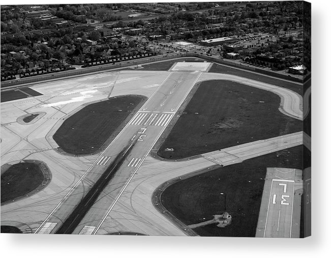 Midway Airport Acrylic Print featuring the photograph Chicago Airplanes 04 Black And White by Thomas Woolworth