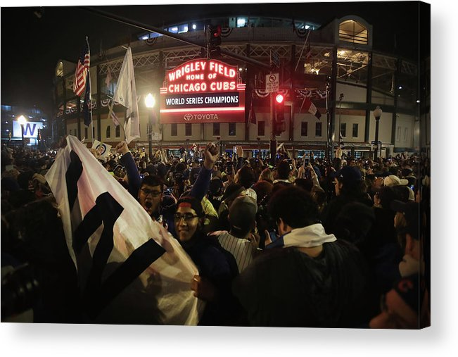 American League Baseball Acrylic Print featuring the photograph Chicago Cubs Fans Gather To Watch Game by Scott Olson