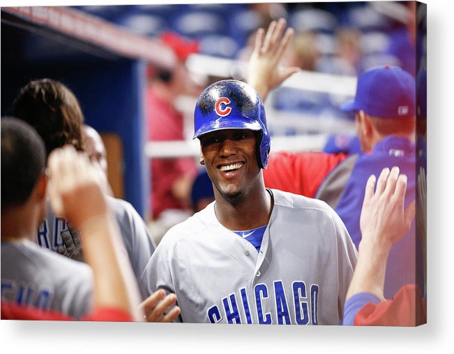 Second Inning Acrylic Print featuring the photograph Chicago Cubs V Miami Marlins by Rob Foldy