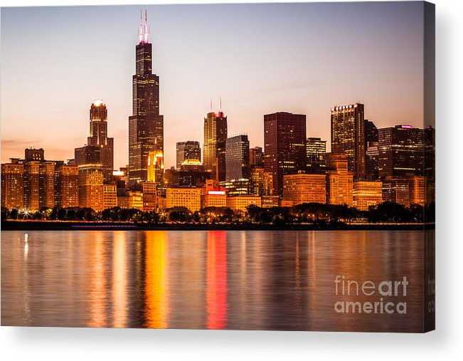 America Acrylic Print featuring the photograph Chicago Downtown City Lakefront With Willis-sears Tower by Paul Velgos