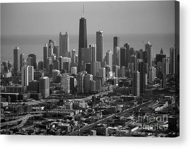 Black And White Acrylic Print featuring the photograph Chicago Looking East 01 Black And White by Thomas Woolworth