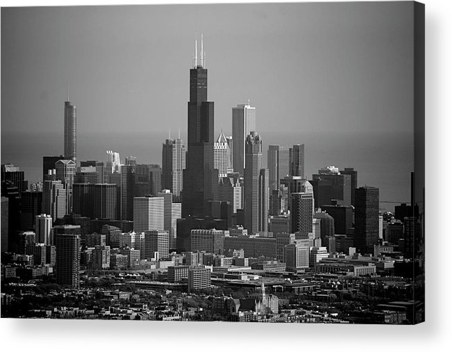 Black And White Acrylic Print featuring the photograph Chicago Looking East 02 Black And White by Thomas Woolworth